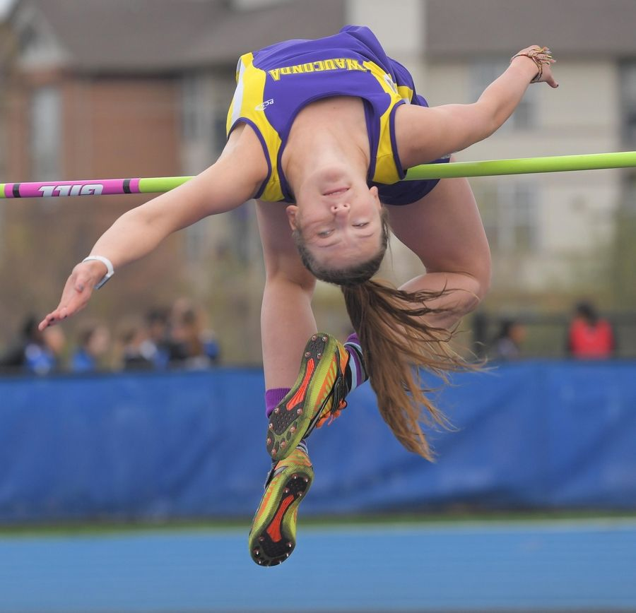Wauconda High School's Grace Daun misses on her first attempt at 5 feet, 11 inches in the high jump at the Lake County girls track meet in Lake Zurich Thursday. She won the event.