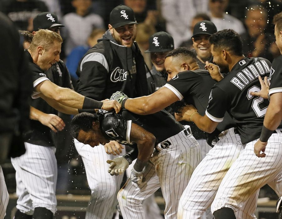 06c69b2b66e325 White Sox Tim Anderson is mobbed by teammates after hitting a walkoff homer  over the Tigers
