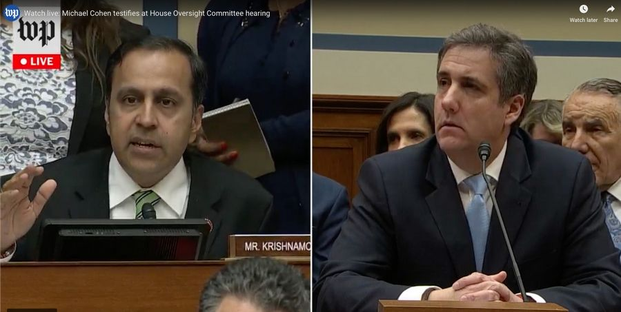 In this screen grab from Washington Post video, Michael Cohen answers questions from Rep. Raja Krishnamoorthi during hearings in Washington on Feb. 27.