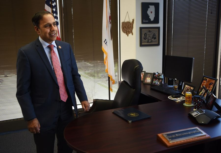 U.S. Rep. Raja Krishnamoorthi, shown in his Schaumburg office, has a firsthand view of this year's political drama as a member of both the House Oversight and Intelligence committees.
