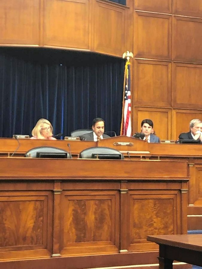 U.S. Rep. Raja Krishnamoorthi, a Schaumburg Democrat, participates at a hearing in Washington, D.C. He is a member of the House Committee on Oversight and Reform and the House Permanent Select Committee on Intelligence.