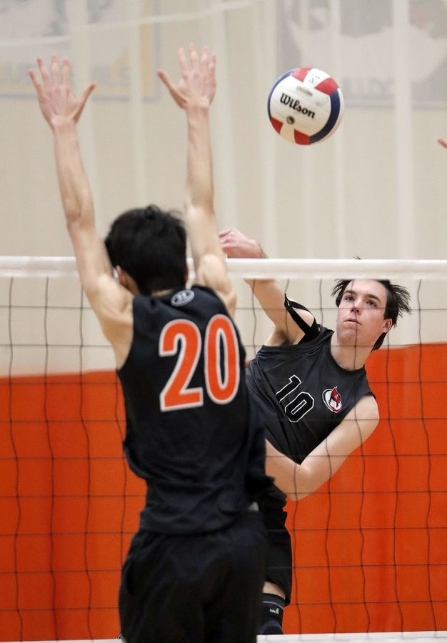 Palatine's Curtis McLennan, right, spikes one at Libertyville's Jack Stavrakos during their game Saturday at Libertyville High School.