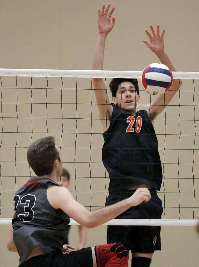 Libertyville's Jack Stavrakos, right, blocks the shot of Palatine's Michael Green during their game Saturday at Libertyville High School.