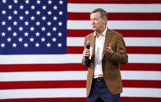 Democratic president candidate and former Colorado Gov. John Hickenlooper speaks at a Service Employees International Union forum on labor issues, Saturday, April 27, 2019, in Las Vegas.