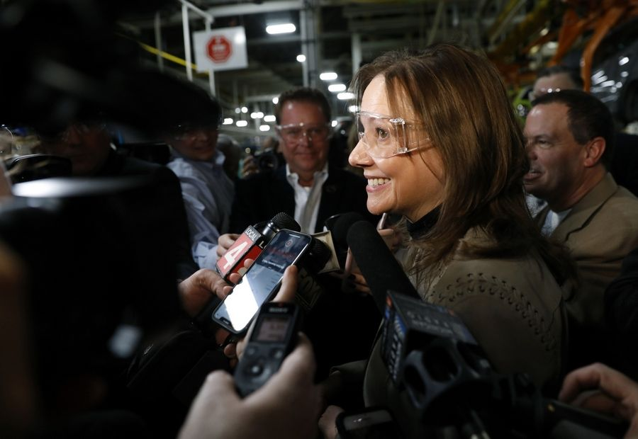 Mary Barra, chairman and chief executive officer of General Motors, speaks to the media at the GM Orion Assembly plant in Orion Township, Mich., on March 22, 2019.