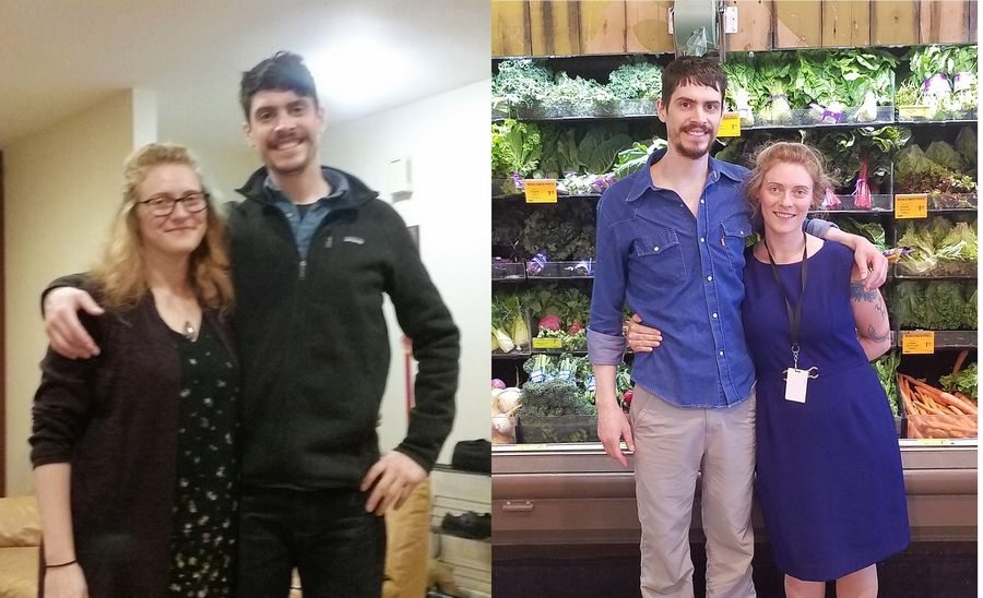 Correspondent Kat Polomsky has definitely seen changes since starting the Fittest Loser program. Kat and her fiance, Mark Munns ; on the left at Thanksgiving and on the right today.