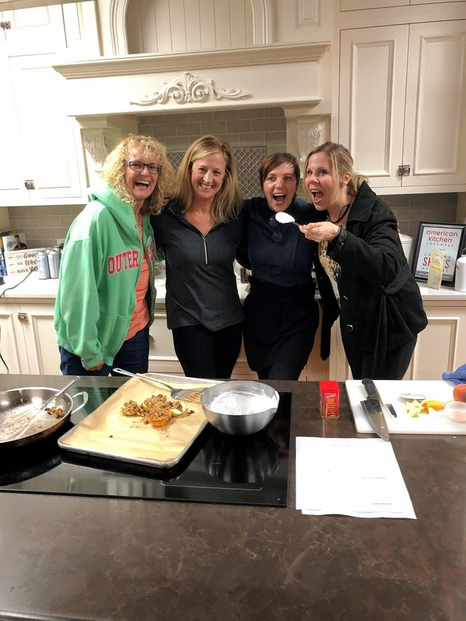 """Elk Strong"" from Elk Grove Park District loved the healthy cooking demonstration presented by Monique of Happy Eats Healthy. From left to right, Carole Hedman, Pam Rice, Monique Costello, and Bonnie Cichanski."