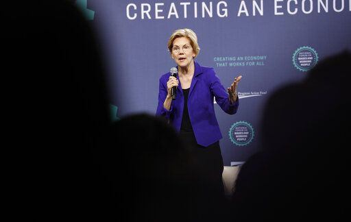 Democratic presidential candidate Sen. Elizabeth Warren, D-Mass., speaks at a Service Employees International Union forum on labor issues, Saturday, April 27, 2019, in Las Vegas.