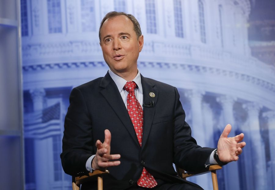 Rep. Adam Schiff, a California Democrat, answers questions during an interview at The Associated Press bureau in Washington.