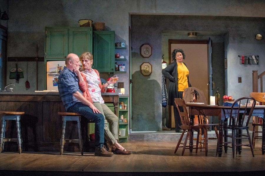 "Rose (Ora Jones), right, unexpectedly reappears in the lives of Robin (Yasen Peyankov) and Hazel (Janet Ulrich Brooks) in Lucy Kirkwood's ""The Children"" at Steppenwolf Theatre in Chicago."