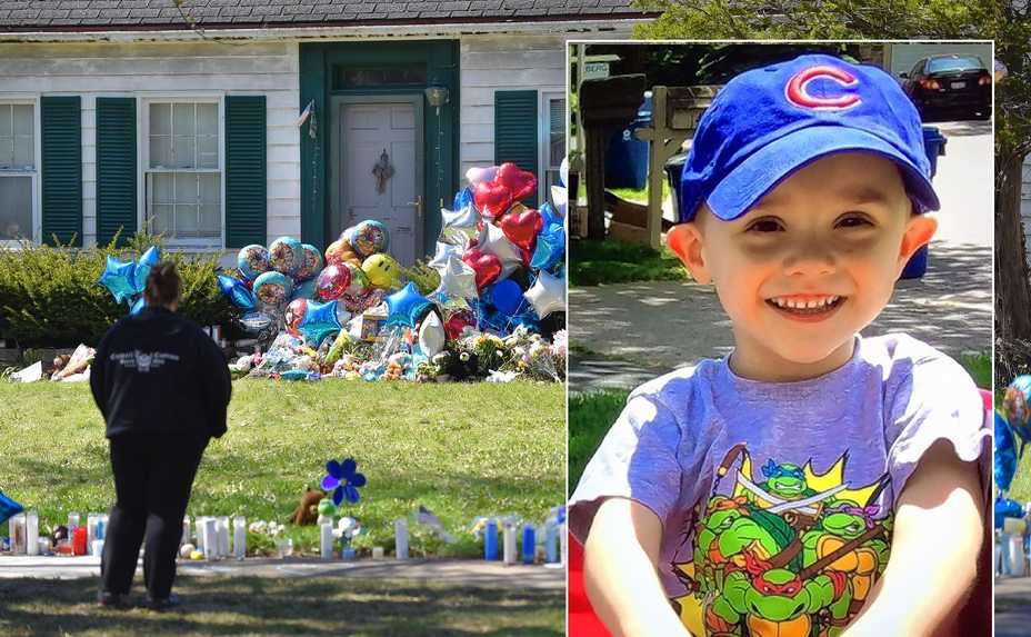 In background, mourners stop on Dole Avenue as a memorial of balloons, stuffed animals