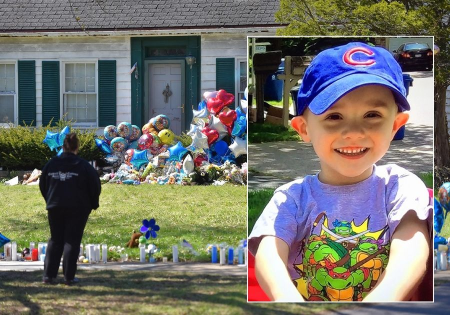 "In background, mourners stop on Dole Avenue as a memorial of balloons, stuffed animals, flowers, toys and candles grows April 26 on the lawn of the home where 5-year-old Andrew ""AJ"" Freund was killed."