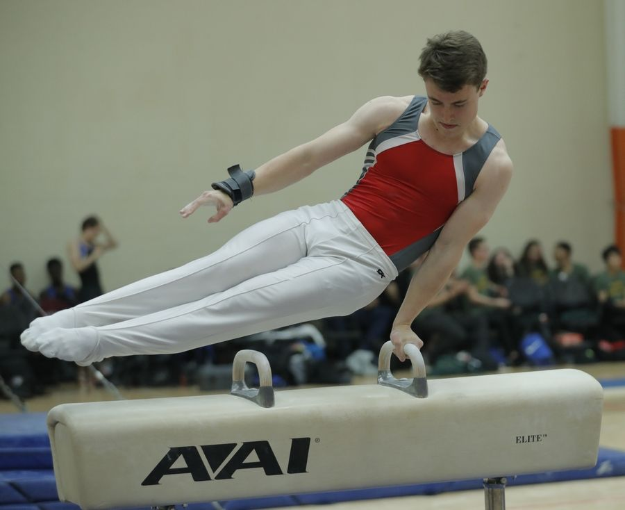 Mundelein's Will Fero competes on the pommel horse during boys sectional gymnastics Wednesday at Libertyville High School.