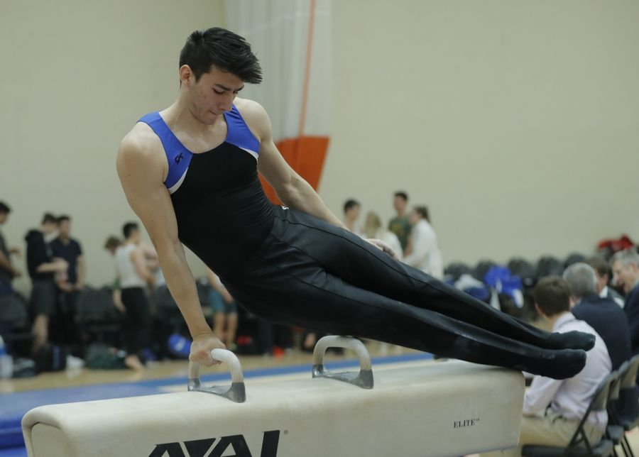 Wheaton Warrenville South's Rodrigo Ruiz competes on the pommel horse during boys sectional gymnastics Wednesday at Libertyville High School.