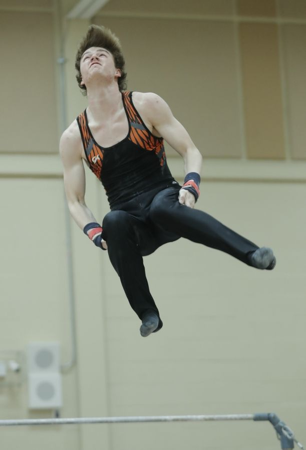Libertyville's Matthew Richardson dismounts off the high bar during boys sectional gymnastics Wednesday at Libertyville High School.