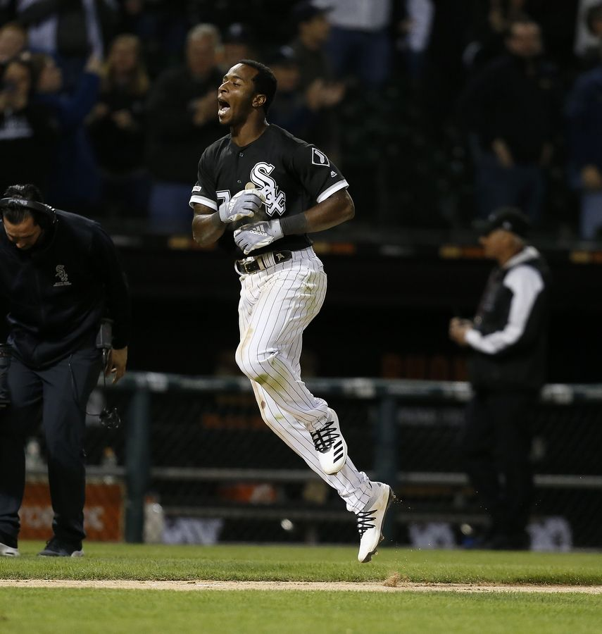 Chicago White Sox Tim Anderson (7) celebrates his walk-off home run against the Detroit Tigers during the ninth inning of a baseball game Friday, April 26, 2019, in Chicago. The Chicago White Sox won 12-11.