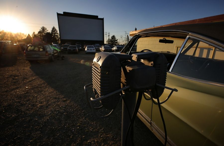 Vintage speakers are available for cars at the McHenry Outdoor Theater.
