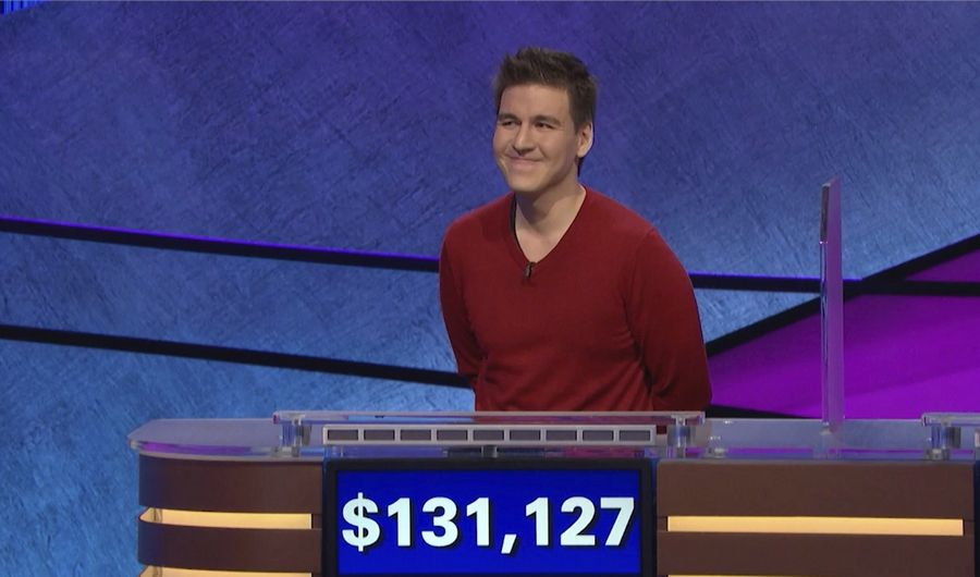 "This image made from video aired on ""Jeopardy!"" on Wednesday, April 17, 2019, and provided by Jeopardy Productions, Inc. shows James Holzhauer. The professional sports gambler from Las Vegas Holzhauer won $131,127 during a show that aired Wednesday night, breaking the record that viewers saw him set last week. (Jeopardy Productions, Inc. via AP)"