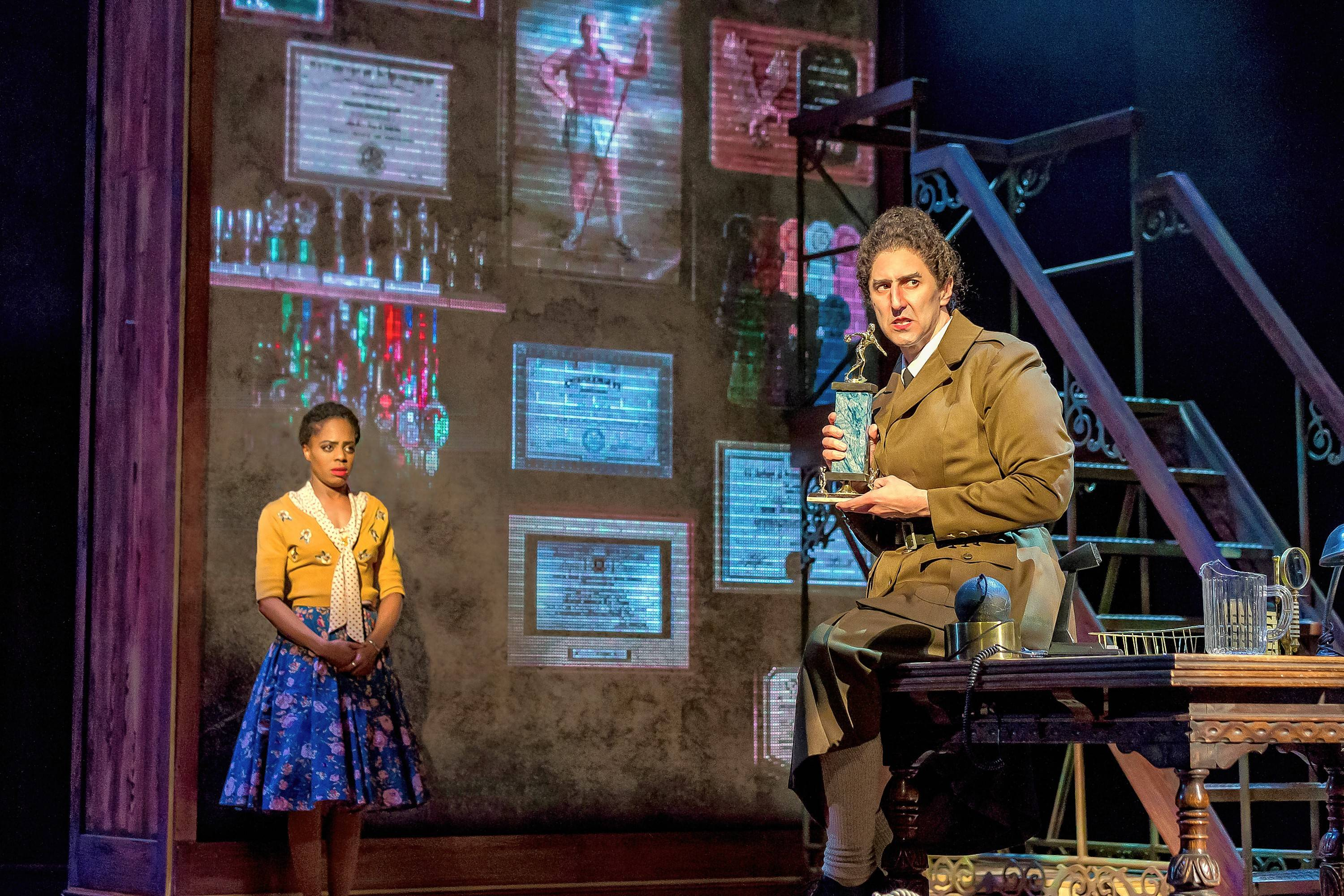 """Compassionate young educator Miss Honey (Eben K. Logan), left, confronts the brutal principal Miss Trunchbull (Sean Fortunato) in Drury Lane Theatre's """"Matilda the Musical,"""" based on Roald Dahl's children's book."""