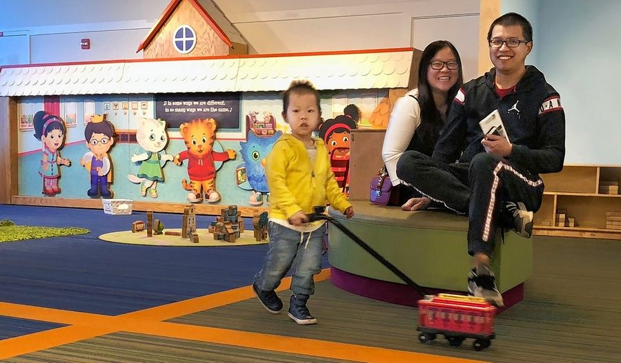 Kids at the Daniel Tiger's Neighborhood: A Grr-ific Exhibit can take the trolley out for a stroll at the DuPage Children's Museum.