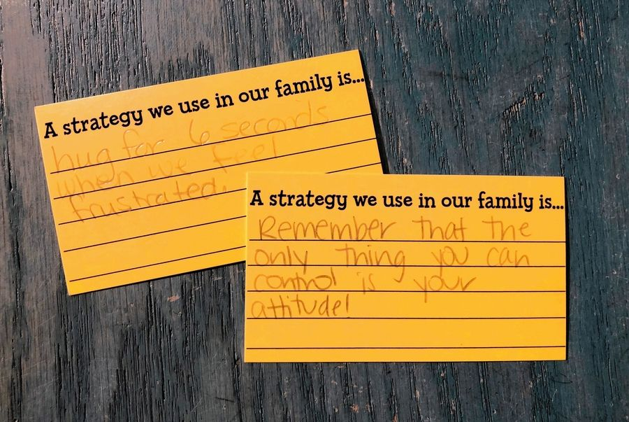 "Cards left by visitors from the ""Take a Strategy Leave a Strategy Wall"" at Daniel Tiger's Neighborhood: A Grr-ific Exhibit."