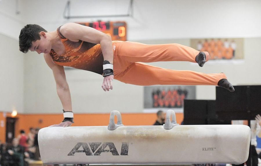 Hersey High School's Matt Bednar performs on the pommel horse at the Hersey boys gymnastics sectional meet in Arlington Heights Saturday.