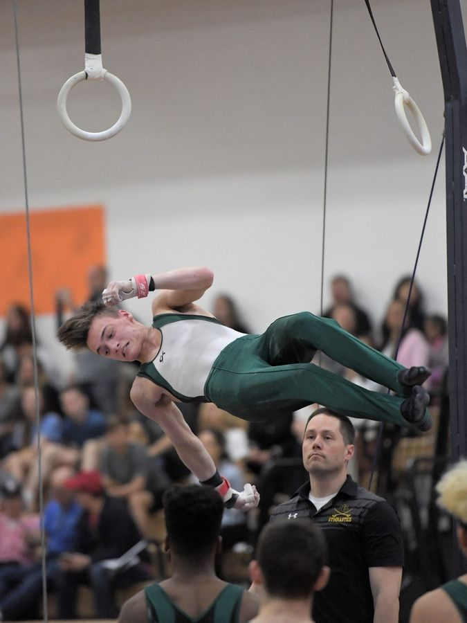 Elk Grove's Griffin McEnroe dismounts his still rings routine at the Hersey boys gymnastics sectional Saturday.