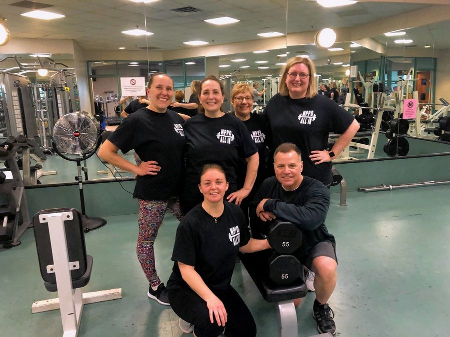 "Mount Prospect Park District's ""MPPD All In!"" meeting for a workout. Clockwise from top left, Kathy Mistarz, Christina Creco, Maria Maurer, Cheryl Lufitz, Nikki Bittner, and Brian Hecker."