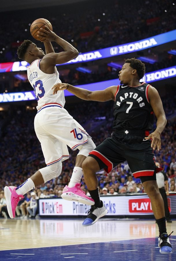 Philadelphia's Jimmy Butler, scoring in Game 3 of the 76ers' second-round playoff series with Toronto Thursday, is having an exceptionally strong postseason.
