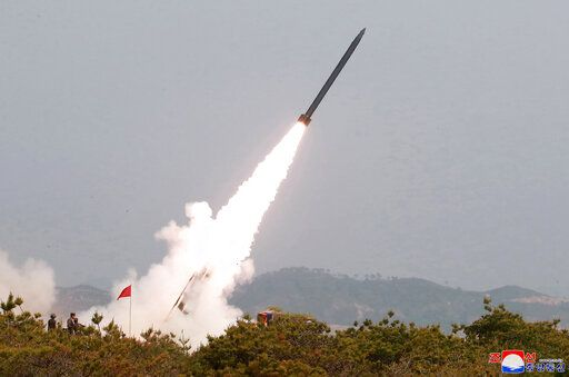 "This Saturday, May 4, 2019, photo provided on Sunday, May 5, 2019, by the North Korean government shows a test of weapon systems, in North Korea. North Korean state media on Sunday said leader Kim Jong Un observed live-fire drills of long-range multiple rocket launchers and unspecified tactical guided weapons, a day after South Korea's military detected the North launching several unidentified short-range projectiles into the sea off its eastern coast. Independent journalists were not given access to cover the event depicted in this image distributed by the North Korean government. The content of this image is as provided and cannot be independently verified. Korean language watermark on image as provided by source reads: ""KCNA"" which is the abbreviation for Korean Central News Agency. (Korean Central News Agency/Korea News Service via AP)"