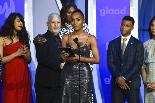"Writer Janet Mock accepts the outstanding drama series award for the television show ""Pose"" at the 30th annual GLAAD Media Awards at the New York Hilton Midtown on Saturday, May 4, 2019, in New York. (Photo by Evan Agostini/Invision/AP)"