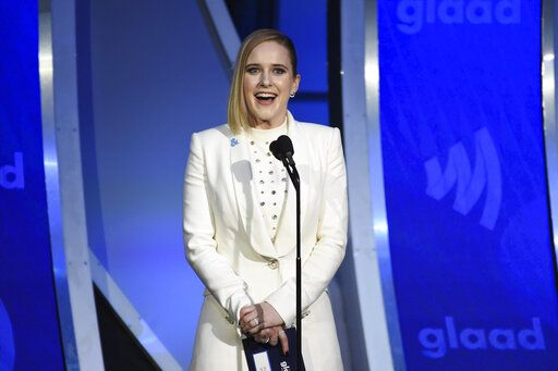 Actress Rachel Brosnahan presents the outstanding drama series award at the 30th annual GLAAD Media Awards at the New York Hilton Midtown on Saturday, May 4, 2019, in New York. (Photo by Evan Agostini/Invision/AP)