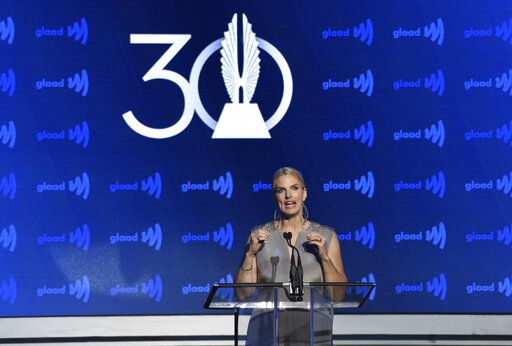 GLAAD President and CEO Sarah Kate Ellis speaks at the 30th annual GLAAD Media Awards at the New York Hilton Midtown on Saturday, May 4, 2019, in New York. (Photo by Evan Agostini/Invision/AP)