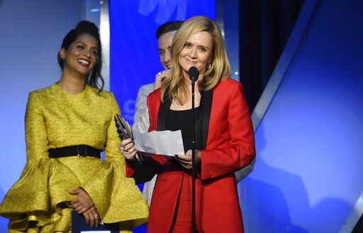 Samantha Bee accepts an award for outstanding variety or talk show episode at the 30th annual GLAAD Media Awards at the New York Hilton Midtown on Saturday, May 4, 2019, in New York. (Photo by Evan Agostini/Invision/AP)