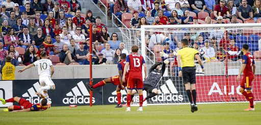Portland Timbers midfielder Sebastian Blanco (10) scores a goal against Real Salt Lake in the first half of an MLS soccer match Saturday, May 4, 2019, at Rio Tinto Stadium in Sandy, Utah. (Leah Hogsten/The Salt Lake Tribune via AP)