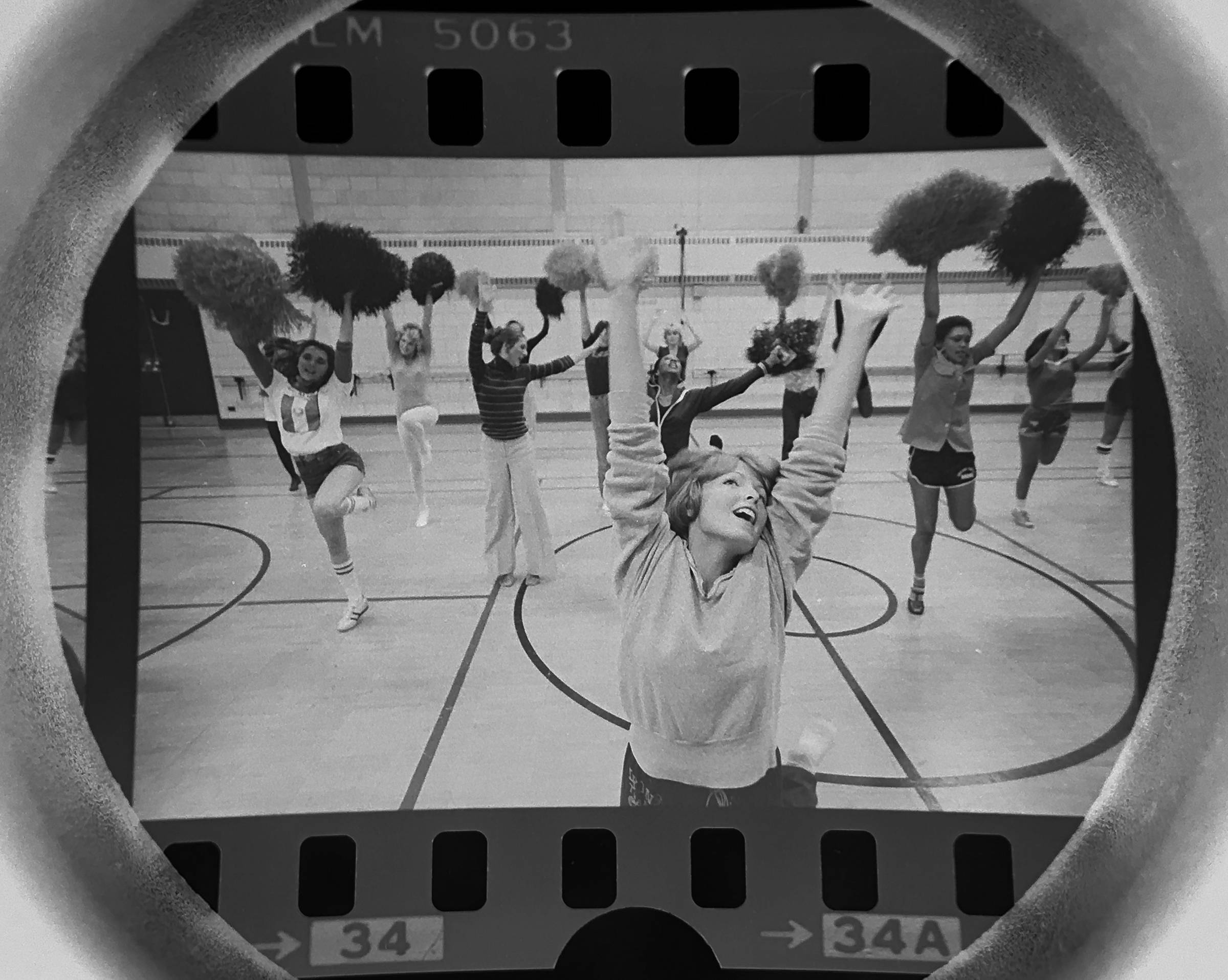 The Daily Herald Archive, Assignment # 45,105, Barry Jarvinen photo: Members of the Chicago Bears Honey Bears cheerleading squad practice for an upcoming Bears game in October of 1977. The Honey Bears final performance was at Super Bowl XX, January 26, 1986.