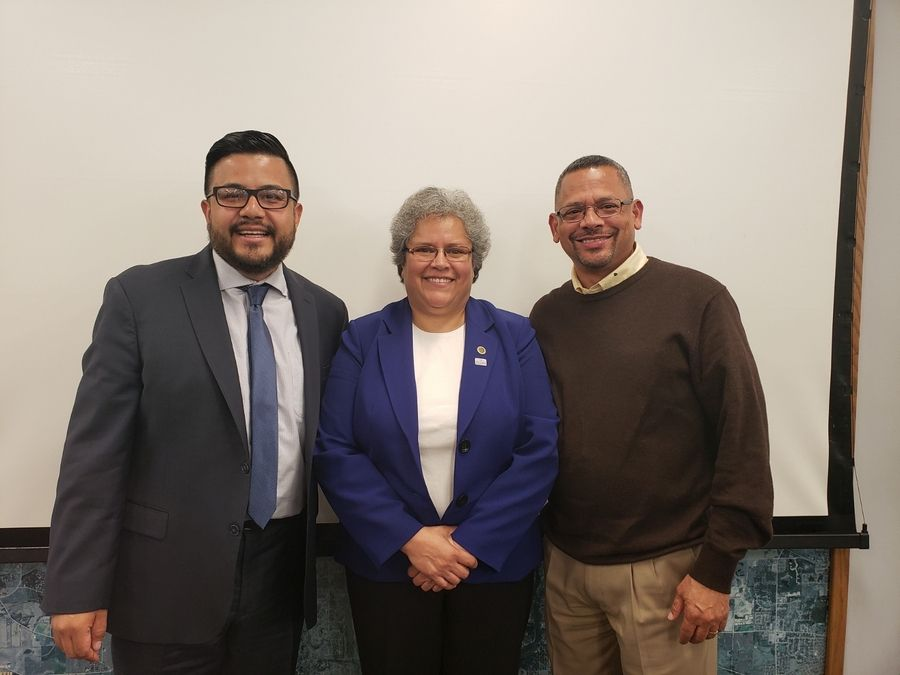 Newly sworn in Elgin Councilman Baldemar Lopez, left, stands next to Councilwoman Rose Martinez and former Councilman Juan Figueroa on Wednesday at city hall in Elgin.