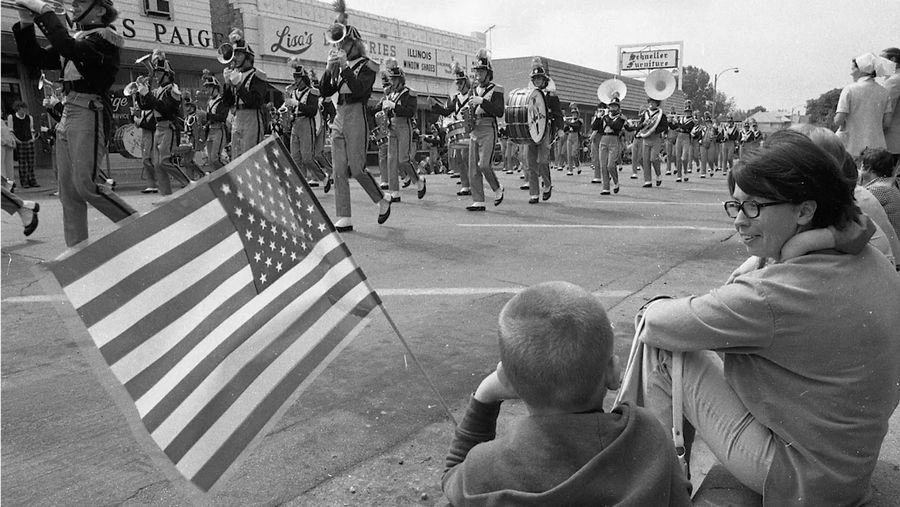 Researchers scoured the Daily Herald archives to find images, like these two, of previous Arlington Heights Memorial Day parades. The photos are featured in a 10-minute video recounting the 100-year history of the parade.