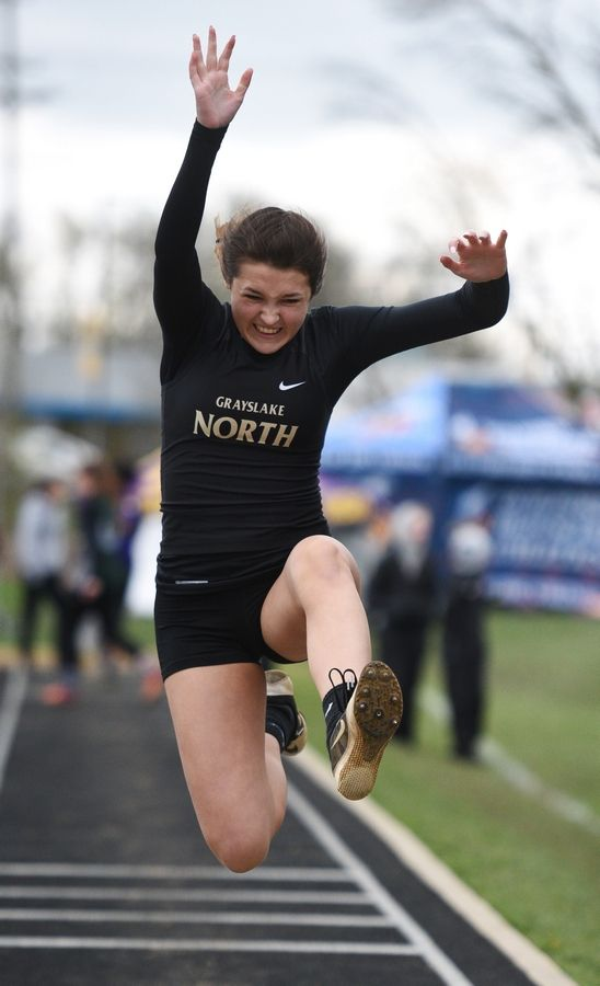 Grayslake North's Emerson Soder competes in the long jump during Thursday's girls track sectional in Antioch.