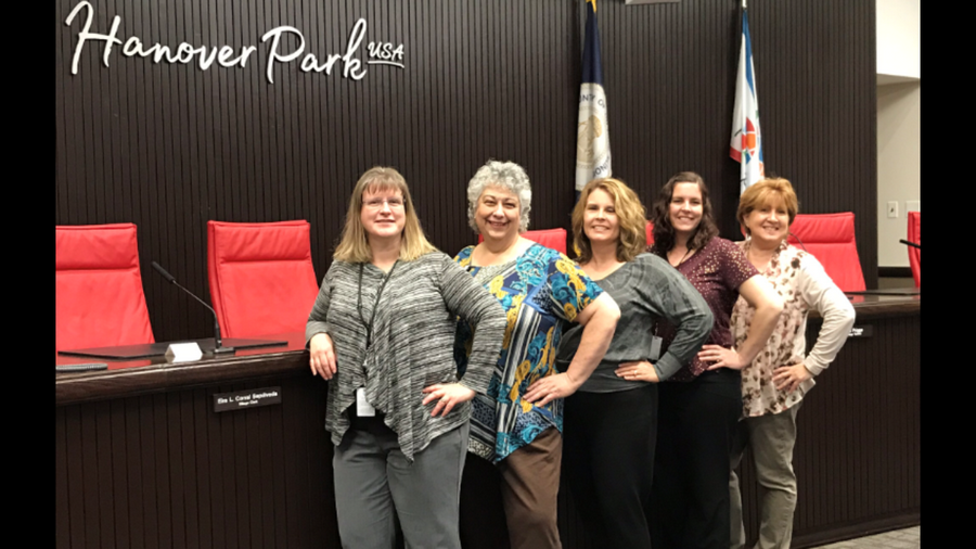 "The girls from ""Hanover Net Loss"" from the village of Hanover Park Financial Department have gone through many amazing changes in body, health, and socially. From left to right, Andrea Granias, Tomasa Reis, Sheryl Donovan, Suzanne Thorson, Ruth Roenna."