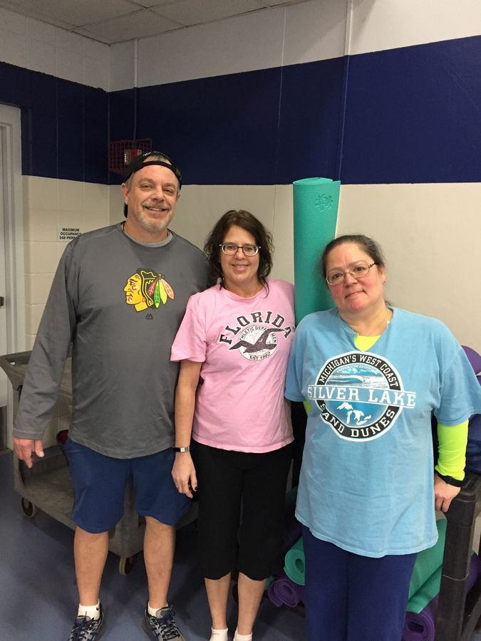 """Tons of Love"" from TTI, Inc. attended the POP Pilates class that was hosted by the Elk Grove Park District during the challenge. From left to right, Eric Wahl, Michelle Sprainis, and Elizabeth Olcese."