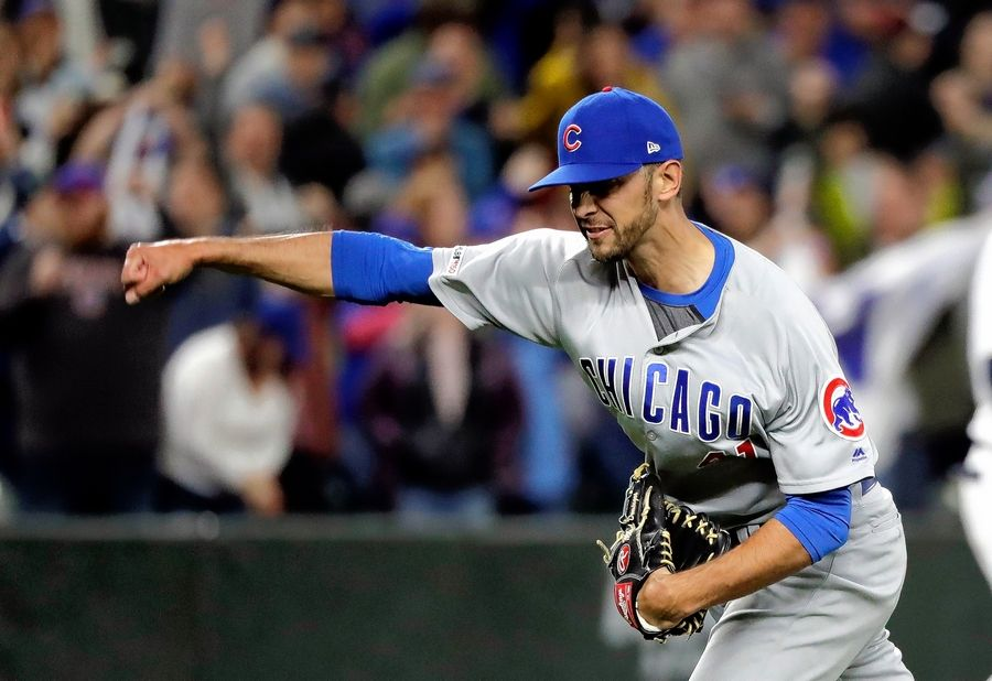 Chicago Cubs pitcher Steve Cishek reacts to striking out Seattle Mariners' Jay Bruce in the ninth inning to end a baseball game Tuesday, April 30, 2019, in Seattle. The Cubs won 6-5.