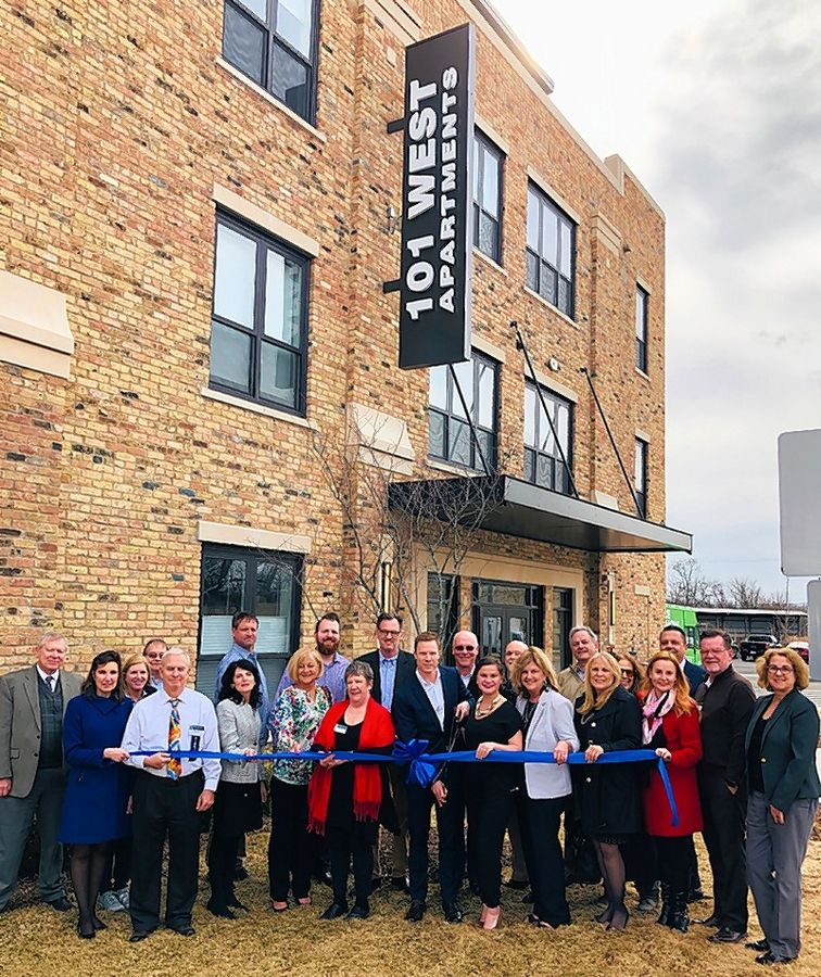 The Barrington Area Chamber of Commerce gathered with the village of Barrington for a ribbon-cutting ceremony to celebrate the grand opening of 101 W. Liberty Apartments in Barrington.