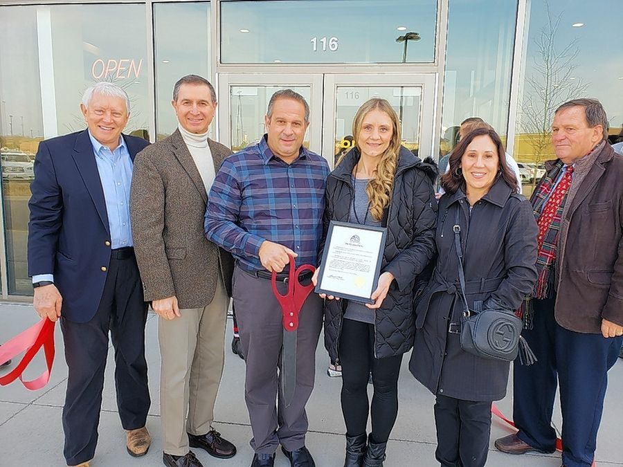 The Lake Zurich Area Chamber of Commerce recently held a grand opening & ribbon cutting at Brunch Cafe, 20393 Rand Road, Kildeer. From left are Lake County Dist. 19 Rep. Craig Taylor, Kildeer Village Administrator Michael Talbett, Brunch Cafe Kildeer General Manager Chris Cabano, Brunch Cafe Kildeer Assistant Manager Nicki O'Connor, Chamber President Ginny Opsahl and Chamber Board Member Skip Tonigan.At right: The Chamber recently held a Business After Hours at Battle House Tactical Laser Tag, 28039 W Northpointe Parkway. No. 4, Lake Barrington. From left are Ginny Opsahl, Chamber president; Douglas Huckbody, CEO/Managing Partner of Battle House; and Alexandra Loppnow, general manager Battle House.