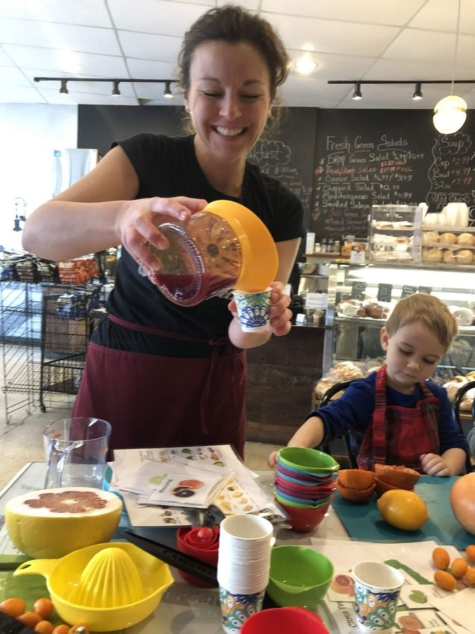 Perrine Quivron and her young students have fun squeezing, zesting and tasting all kinds of citrus in The Petit Foodies classes Quivron leads at DRM European Cafe and Delicatessen in St. Charles.