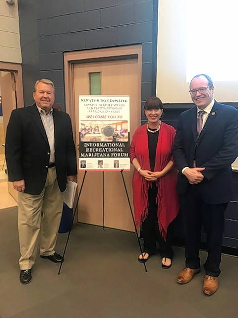 State Sen. Don DeWitte, left, hosted a community forum at St. Charles North High School to debate the value of legalizing recreational marijuana. Joining him were state Sen. Heather Steans and McHenry County State's Attorney Patrick Kenneally.