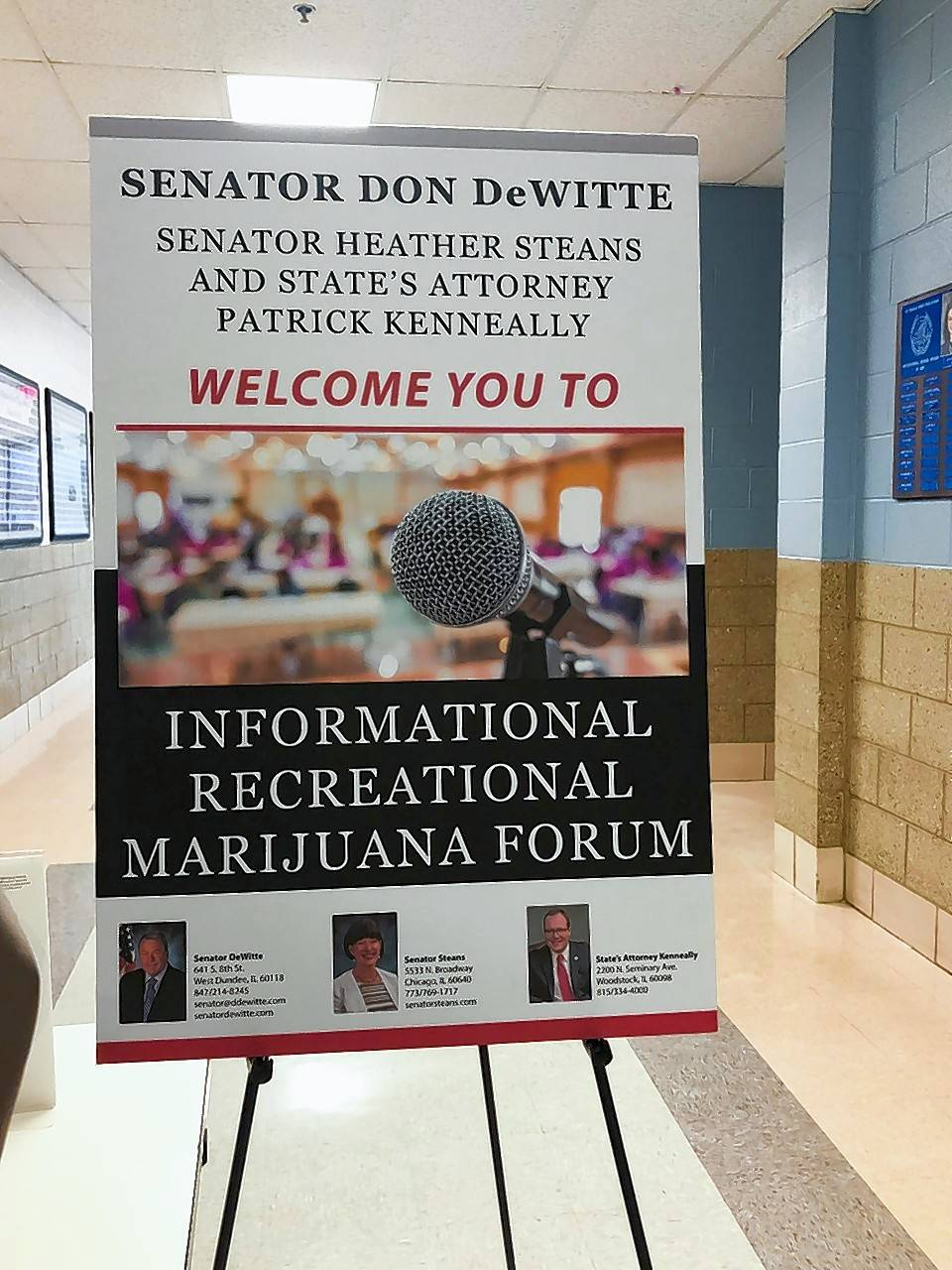 State Sen. Don DeWitte's public forum on legalizing recreational marijuana in St. Charles drew officials and law enforcement representatives from throughout the area. St. Charles Mayor Ray Rogina and Batavia Mayor Jeff Schielke both attended.