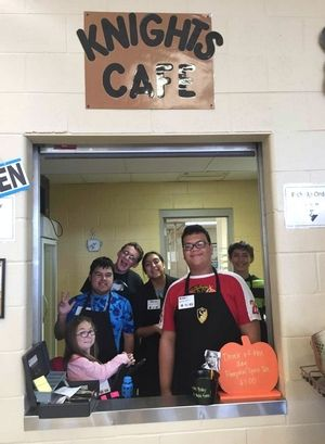 Students with disabilities operate Knights Cafe inside the cafeteria at Grayslake North High School.