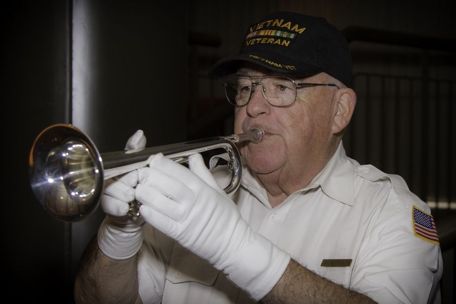 Jim Reynolds, a U.S. Navy veteran and bugler from the nonprofit Bugles Across America, will play taps at the College of Lake County's Memorial Day ceremony, which takes place Friday, May 24 in Café Willow on CLC's Grayslake Campus.