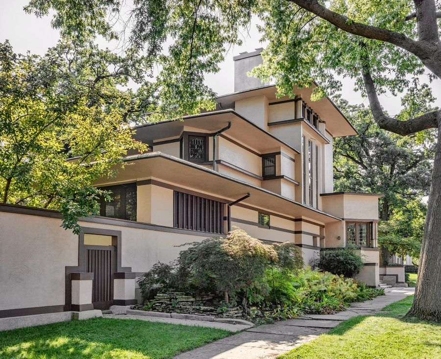 Wright designed his Prairie Style William C. Fricke House in Oak Park in 1901. It is one of eight private homes designed by Wright and his contemporaries on the 2019 Wright Plus housewalk.